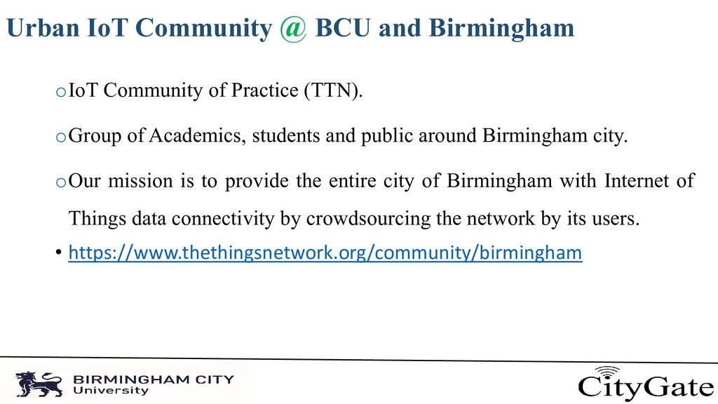 Urban IoT Community @ BCU and Birmingham oIoT C...