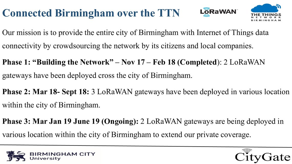 Connected Birmingham over the TTN Our mission i...
