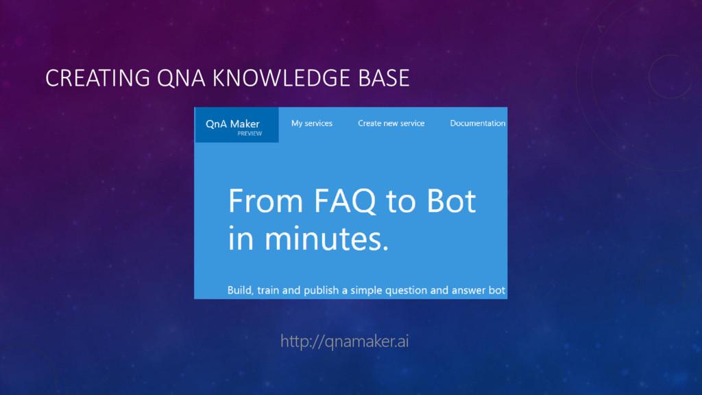 CREATING QNA KNOWLEDGE BASE http://qnamaker.ai