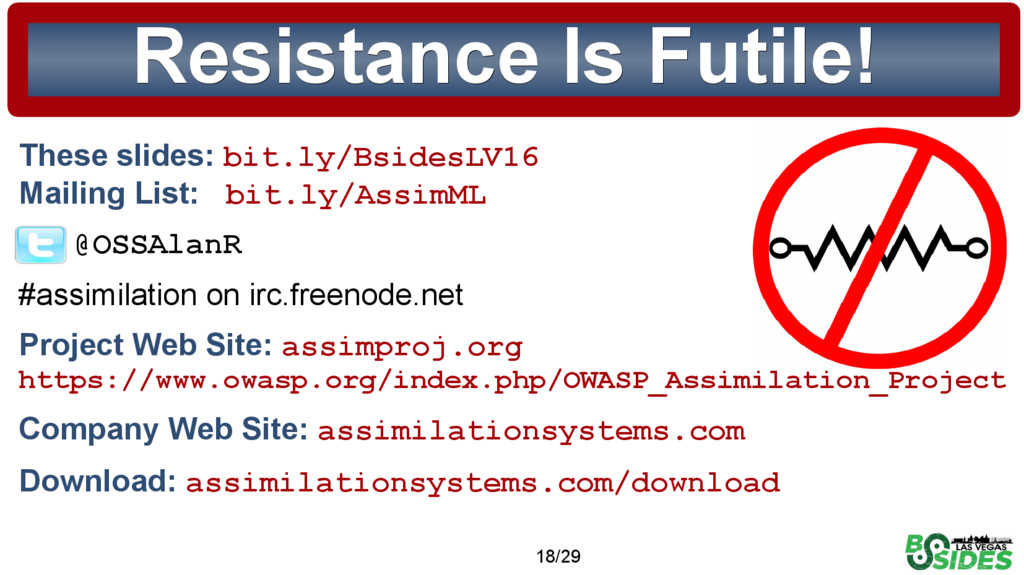 © 2015 Assimilation Systems Limited 18/29 Resis...