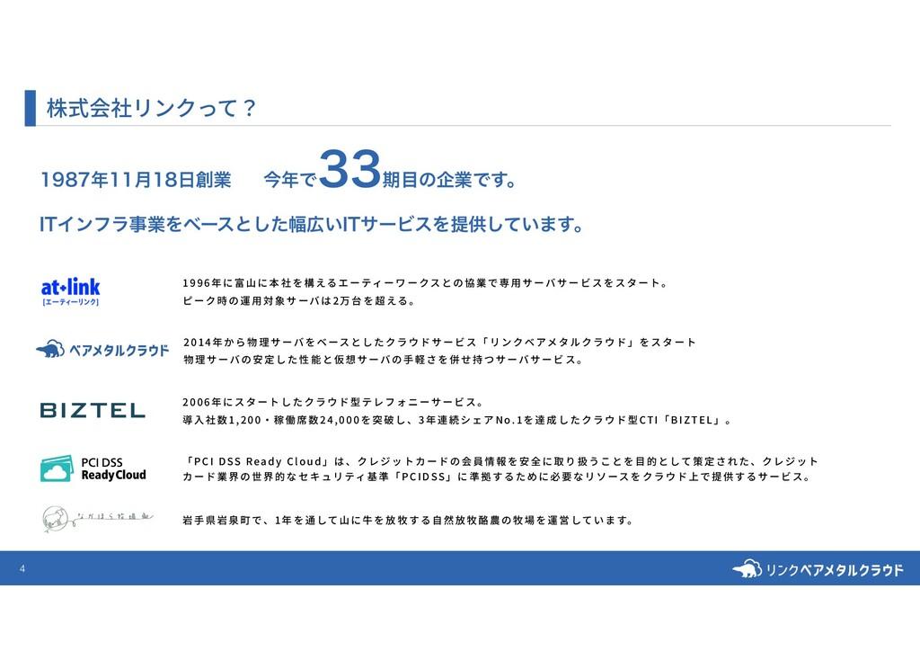 4 株式会社リンクって? ݄ۀ ɹࠓͰ ظͷاۀͰ͢ɻ *5Π...