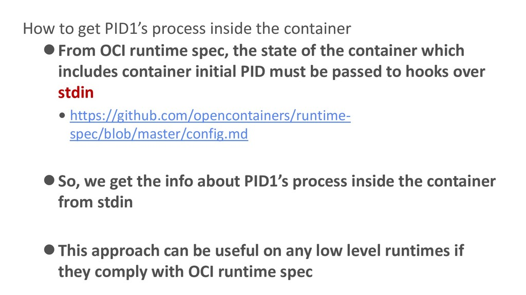 How to get PID1's process inside the container ...