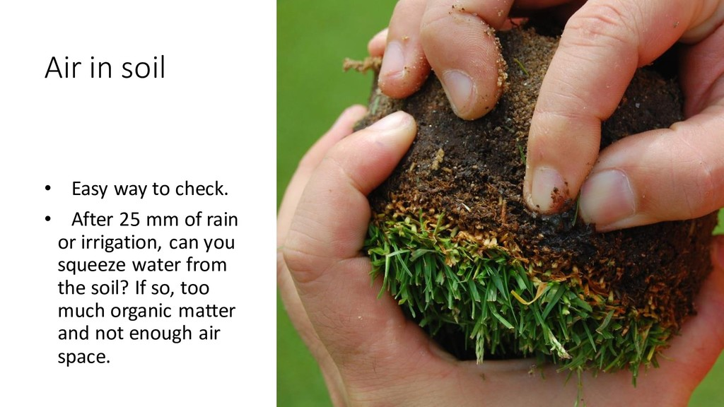 Air in soil • Easy way to check. • After 25 mm ...