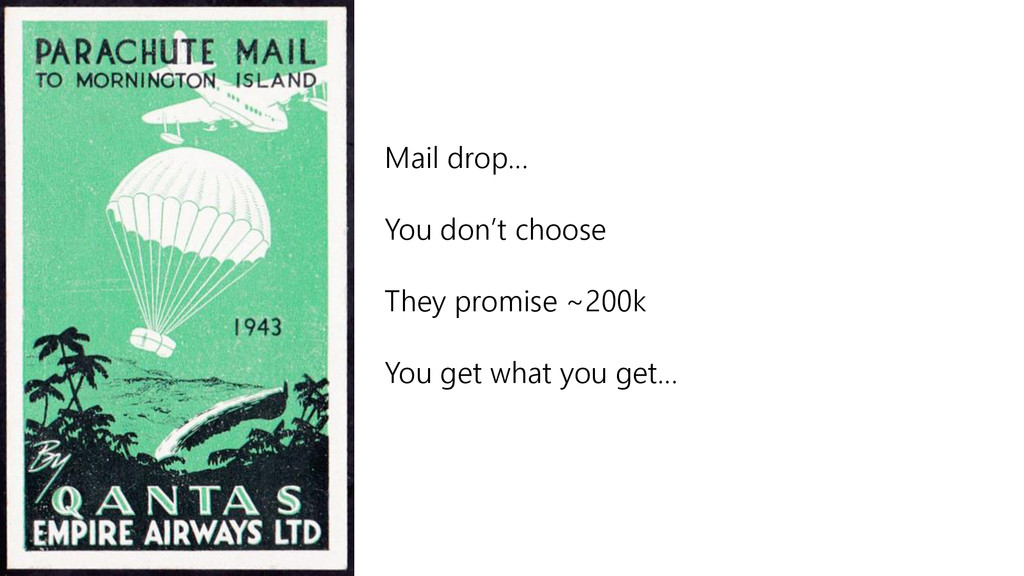 Mail drop… You don't choose They promise ~200k ...
