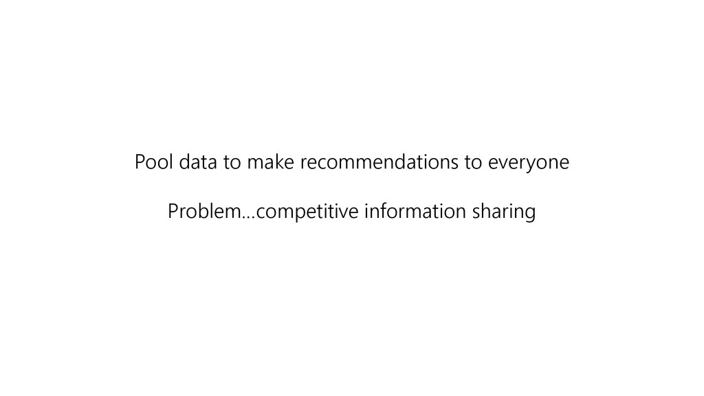 Pool data to make recommendations to everyone P...
