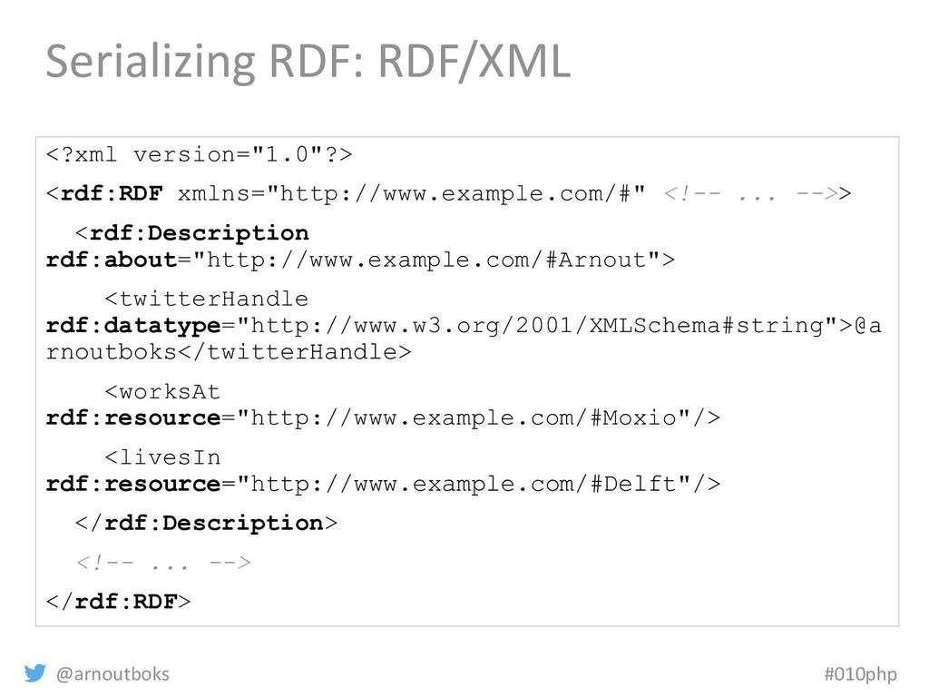 @arnoutboks #010php Serializing RDF: RDF/XML <?...