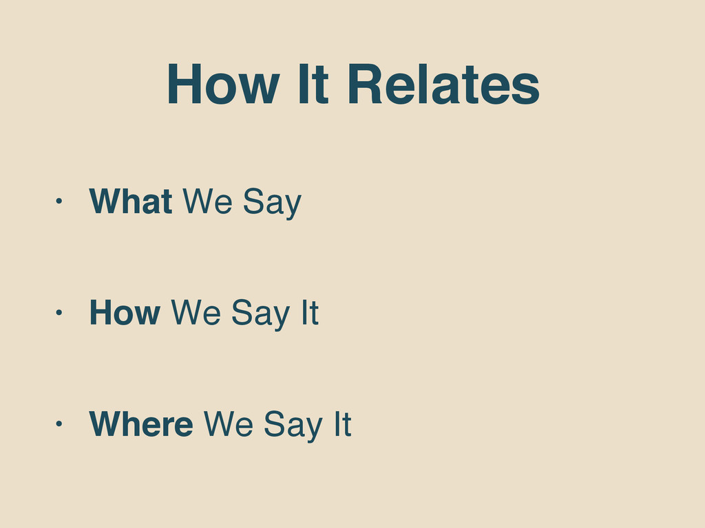 How It Relates • What We Say • How We Say It • ...