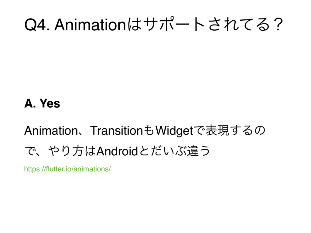 Q4. Animation͸αϙʔτ͞ΕͯΔʁ A. Yes AnimationɺTransi...