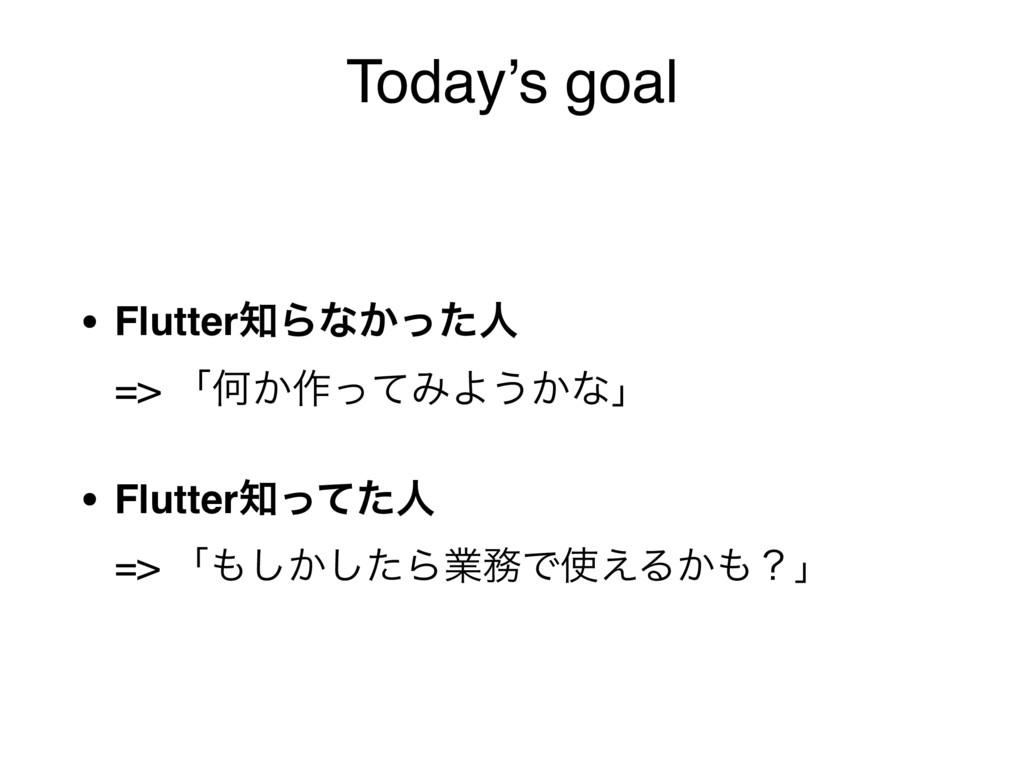 Today's goal • FlutterΒͳ͔ͬͨਓ => ʮԿ͔࡞ͬͯΈΑ͏͔ͳʯ ...