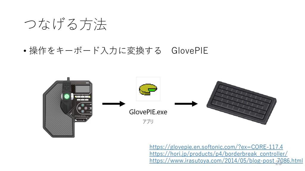 つなげる方法 • 操作をキーボード入力に変換する GlovePIE 23 https://gl...