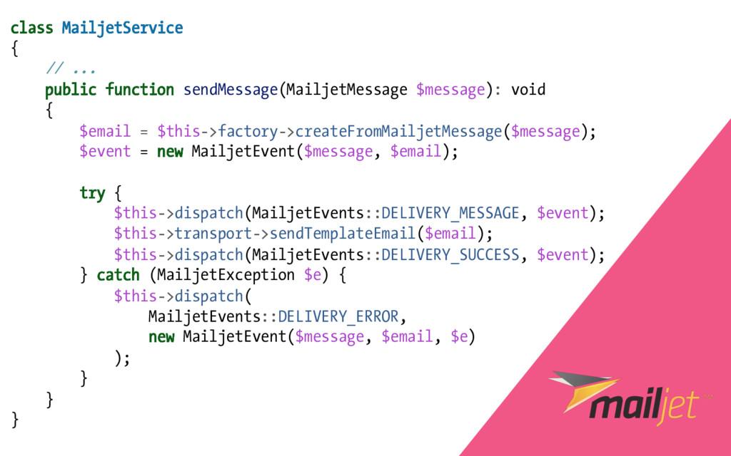 class MailjetService { // ... public function s...