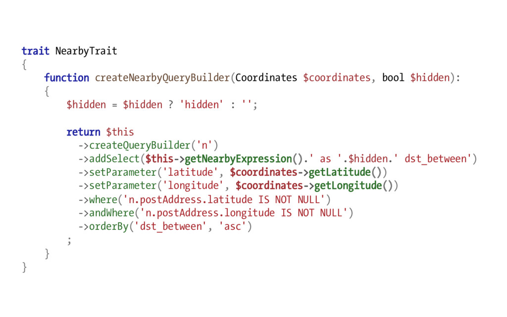 trait NearbyTrait { function createNearbyQueryB...