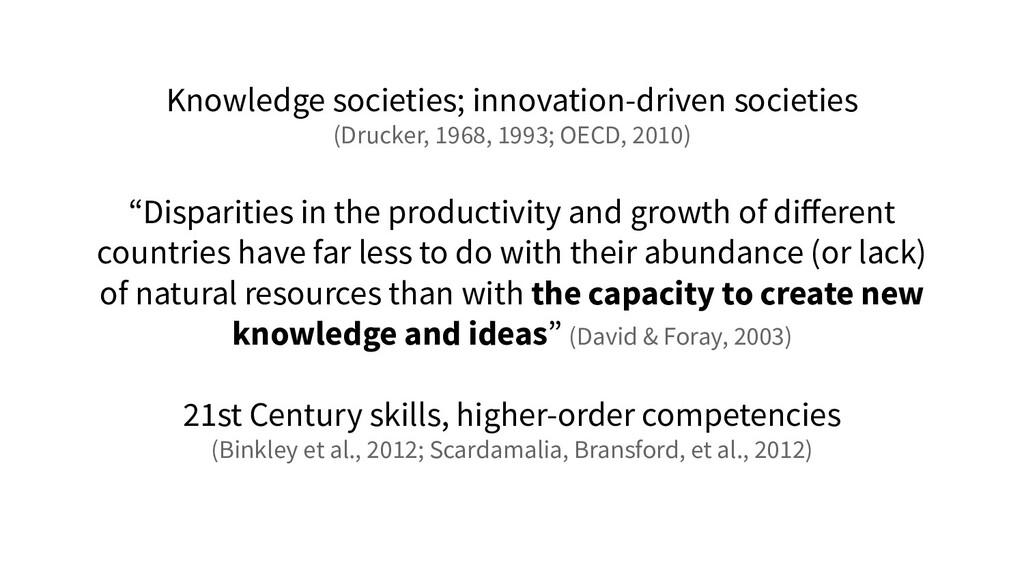 Knowledge societies; innovation-driven societie...