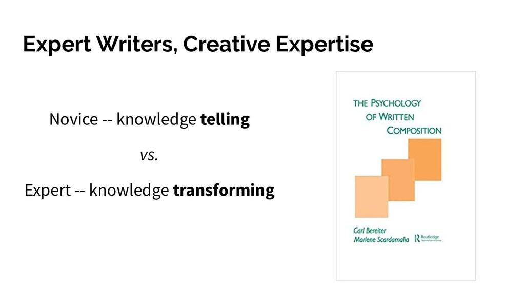 Expert Writers, Creative Expertise Novice -- kn...