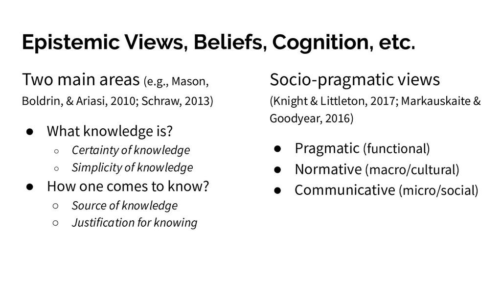 Epistemic Views, Beliefs, Cognition, etc. Two m...