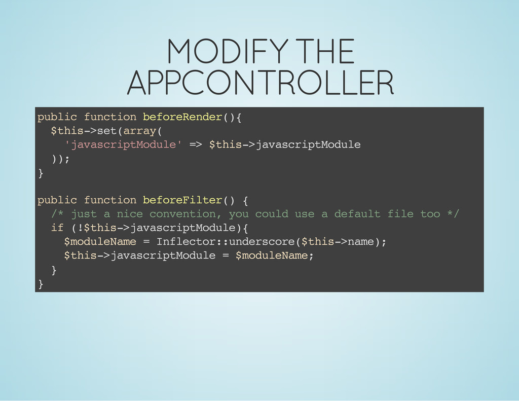 MODIFY THE APPCONTROLLER p u b l i c f u n c t ...