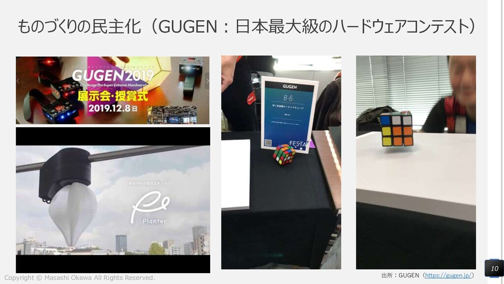 ものづくりの民主化(GUGEN:日本最大級のハードウェアコンテスト) 10 出所:GUGEN(...