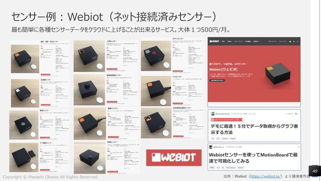 センサー例:Webiot(ネット接続済みセンサー) 最も簡単に各種センサーデータをクラウドに上...
