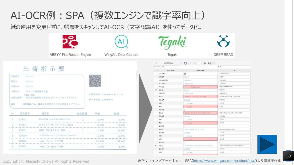 AI-OCR例:SPA(複数エンジンで識字率向上) 紙の運用を変更せずに、帳票をスキャンしてA...