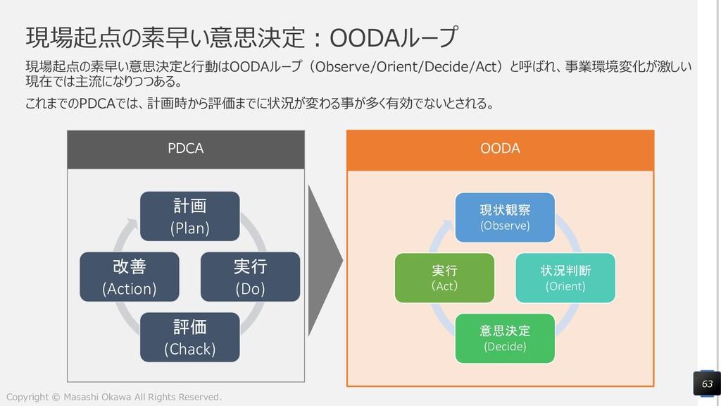 現場起点の素早い意思決定:OODAループ 現場起点の素早い意思決定と行動はOODAループ(Ob...