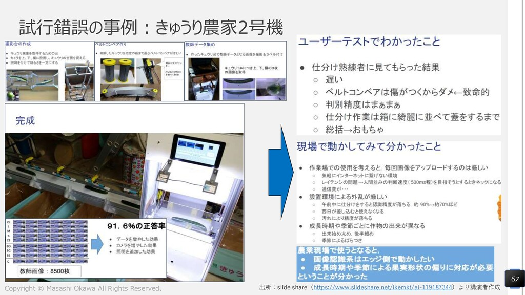 試行錯誤の事例:きゅうり農家2号機 67 出所:slide share(https://www...