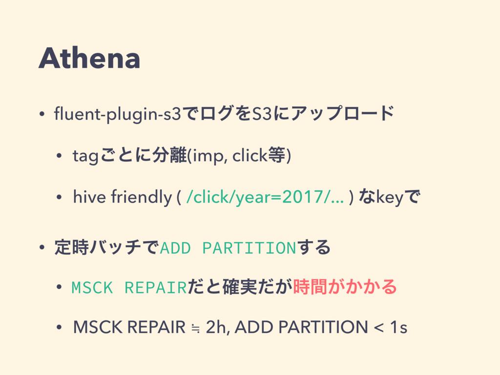Athena • fluent-plugin-s3ͰϩάΛS3ʹΞοϓϩʔυ • tag͝ͱʹ...