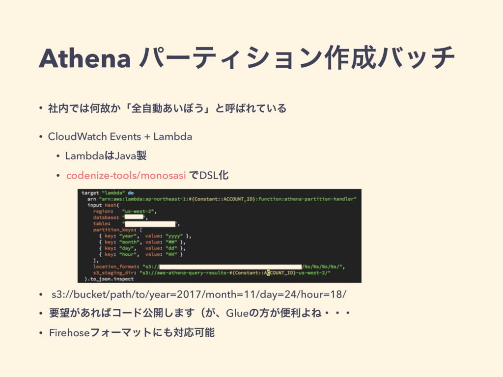 Athena ύʔςΟγϣϯ࡞όον • ࣾͰԿނ͔ʮશࣗಈ͍͋΅͏ʯͱݺΕ͍ͯΔ •...