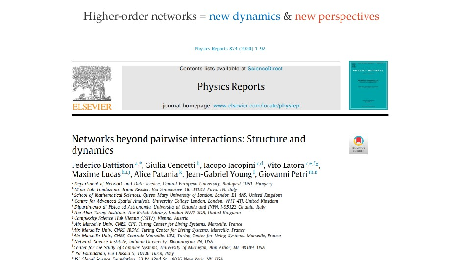 Higher-order networks = new dynamics & new pers...