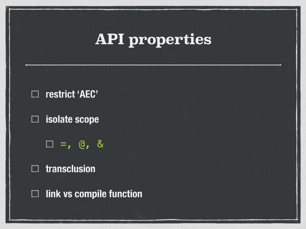 API properties restrict 'AEC' isolate scope =, ...