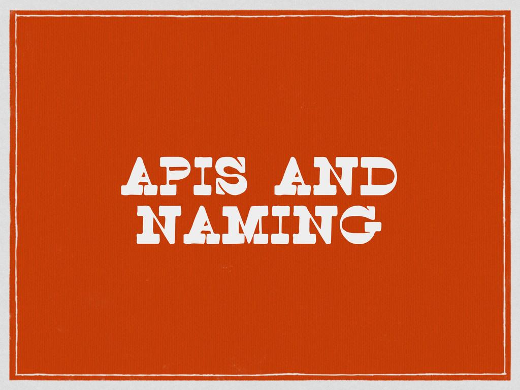 APIs and naming