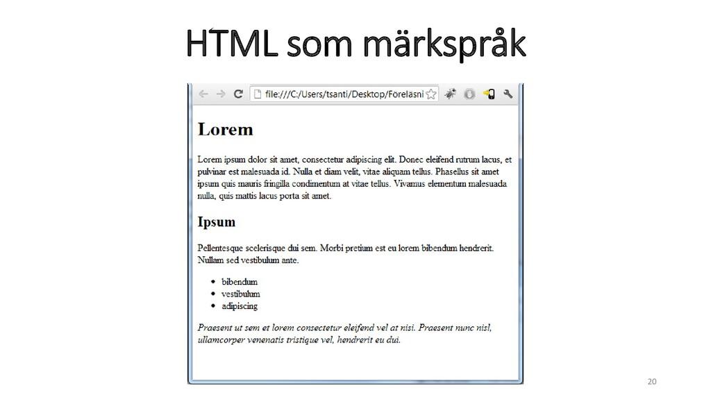 HTML som märkspråk 20