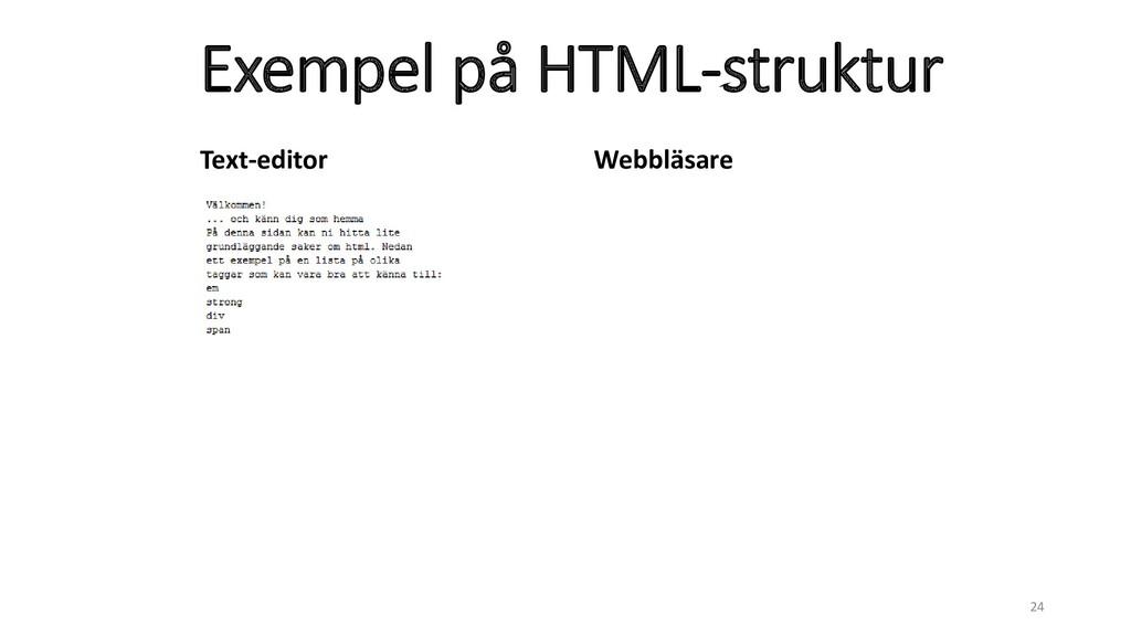 Exempel på HTML-struktur 24 Text-editor Webbläs...