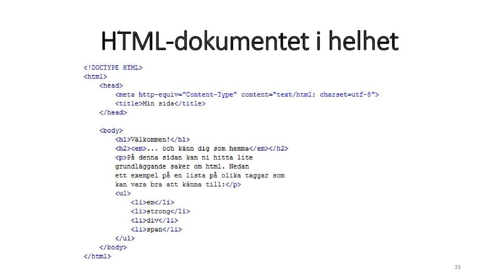 HTML-dokumentet i helhet 33