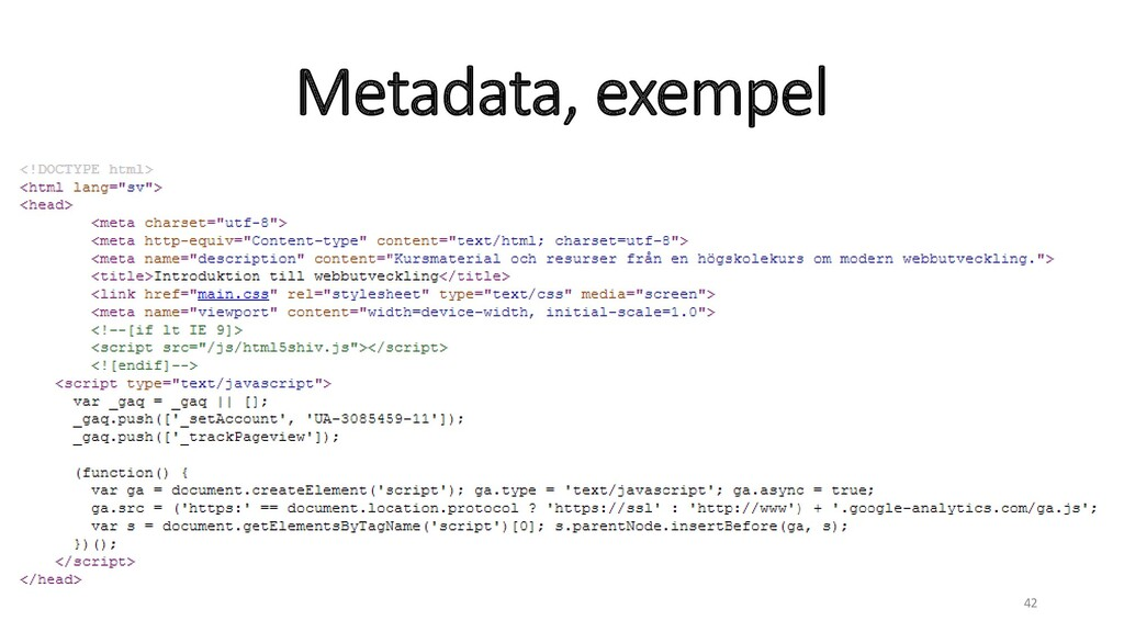 Metadata, exempel 42