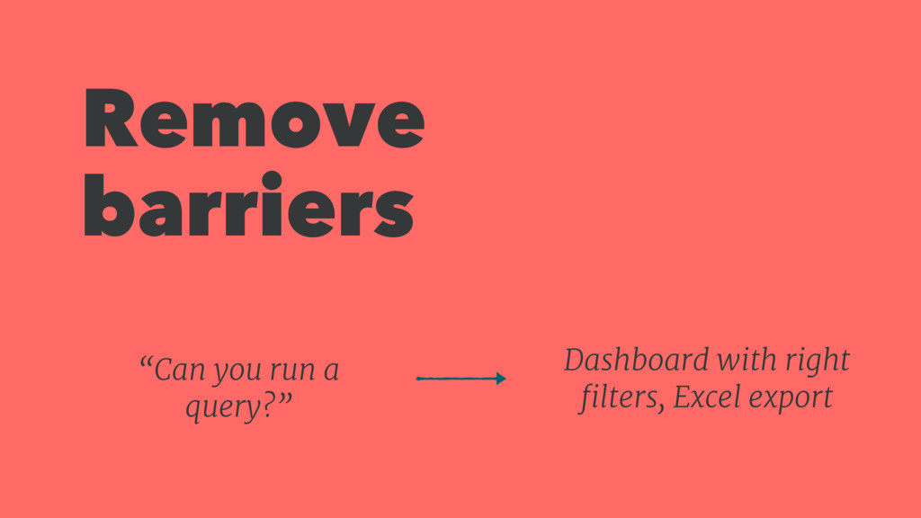 Remove barriers Dashboard with right filters, Ex...