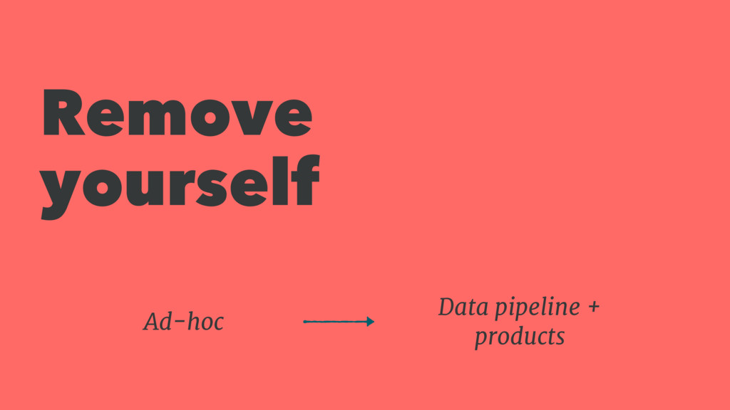 Remove yourself Data pipeline + products Ad-hoc