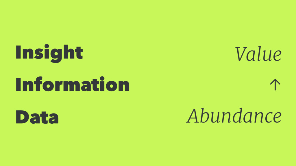 Insight Information Data Value ↑ Abundance