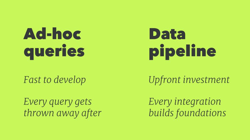 Ad-hoc queries Data pipeline Fast to develop Ev...