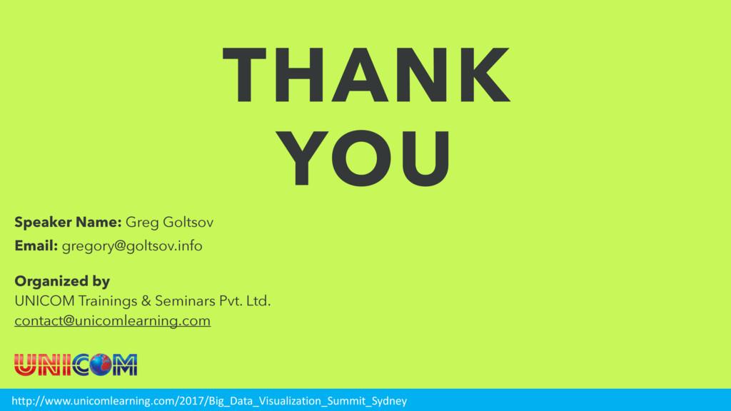 THANK YOU Speaker Name: Greg Goltsov Email: gre...