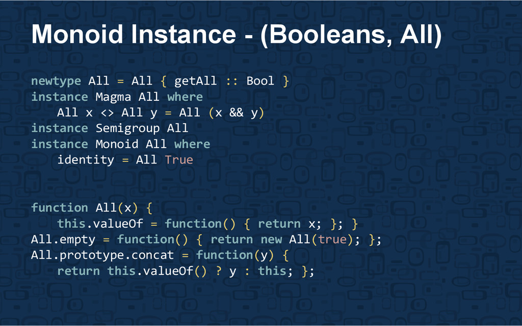 newtype All = All { getAll :: Bool } instance M...