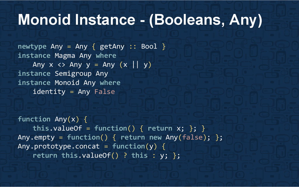newtype Any = Any { getAny :: Bool } instance M...