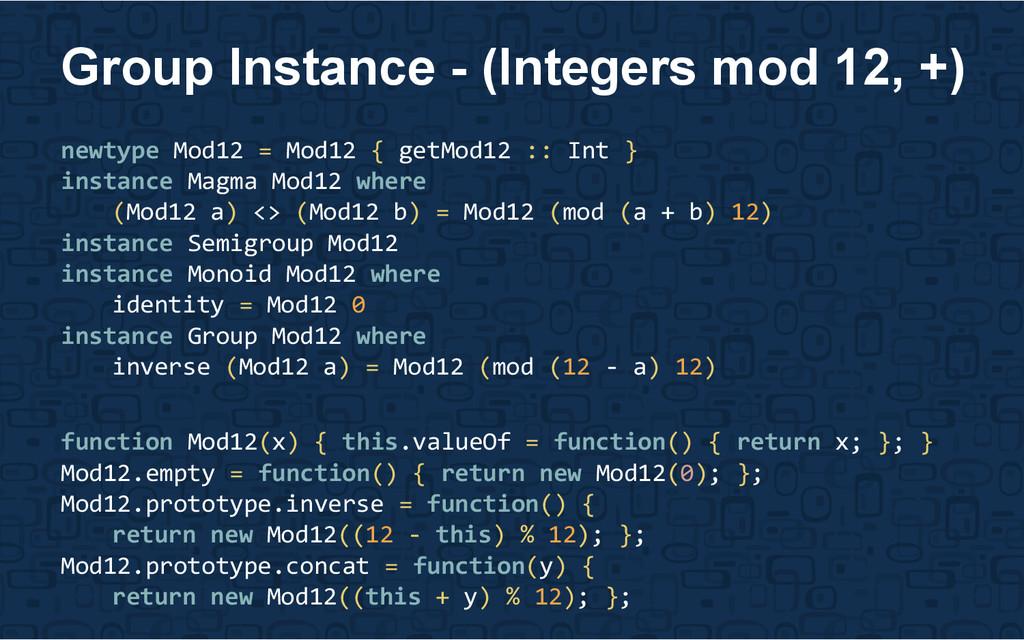 newtype Mod12 = Mod12 { getMod12 :: Int } insta...