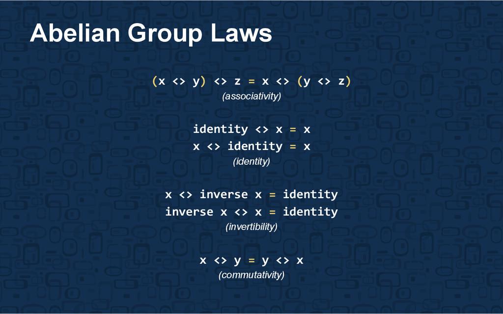 (x <> y) <> z = x <> (y <> z) (associativity) i...