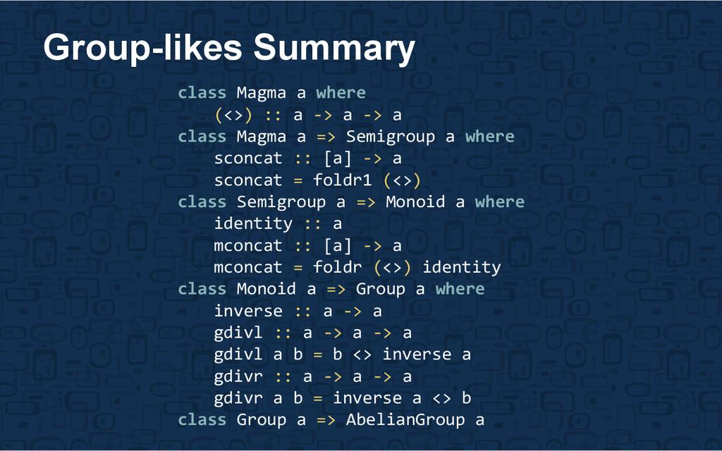 Group-likes Summary class Magma a where (<>) ::...
