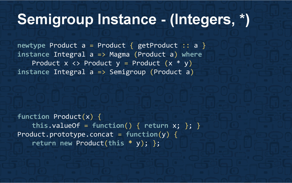 newtype Product a = Product { getProduct :: a }...