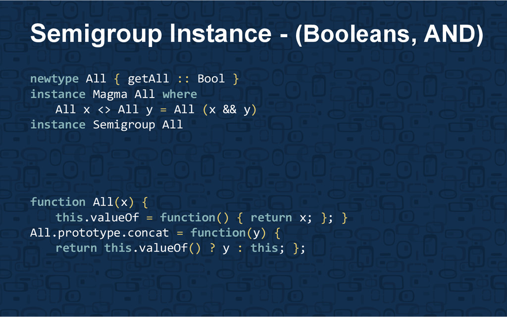 newtype All { getAll :: Bool } instance Magma A...