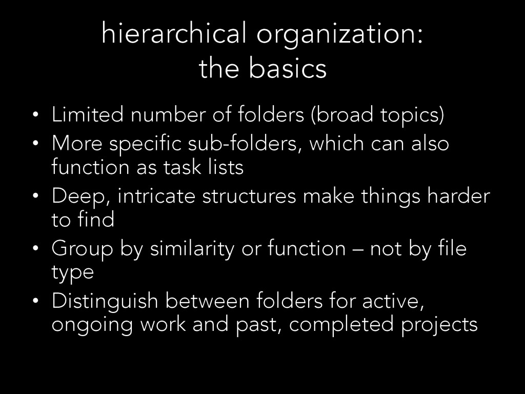 hierarchical organization: the basics •  Limite...