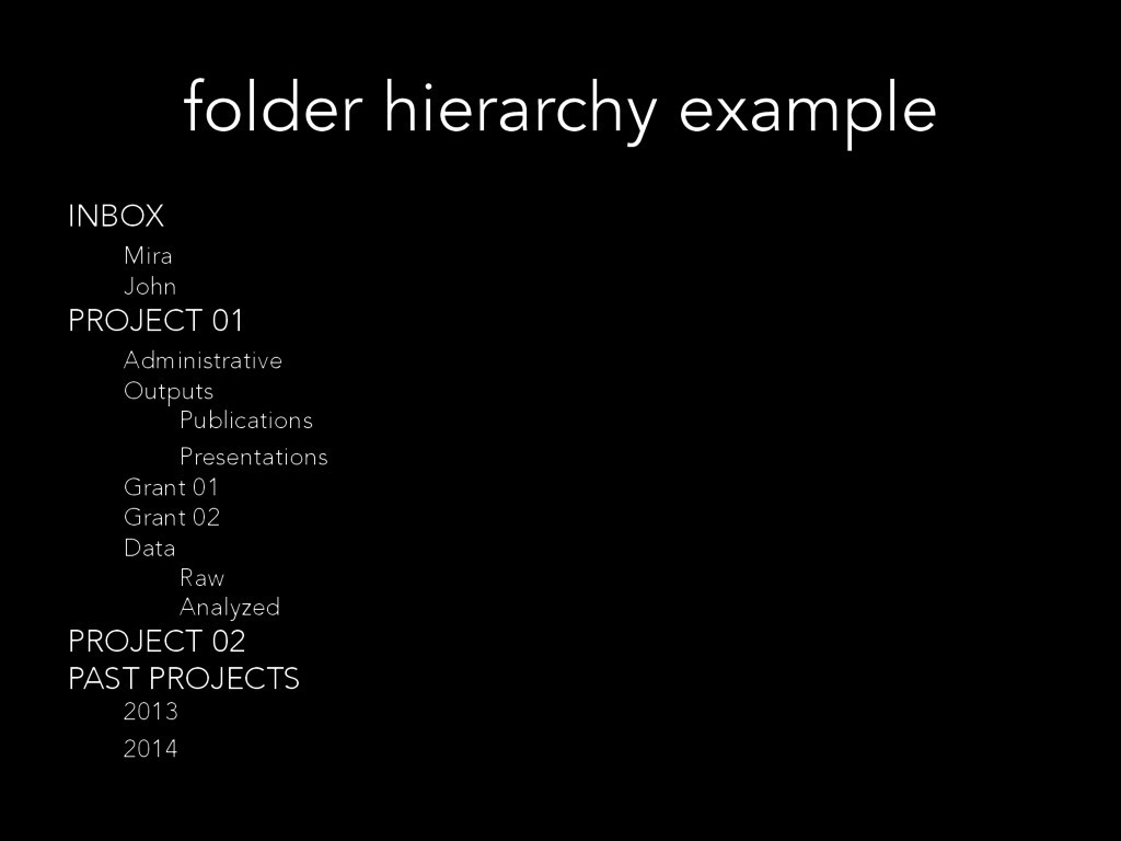 folder hierarchy example INBOX Mira John PROJEC...