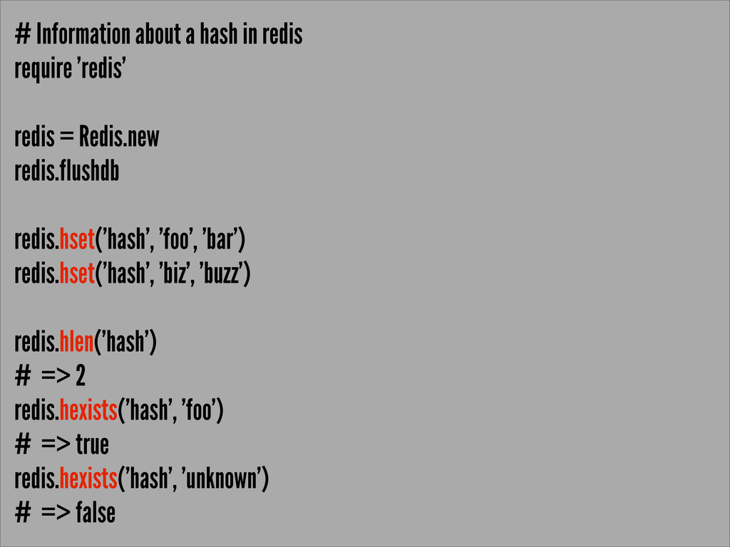 # Information about a hash in redis require 're...