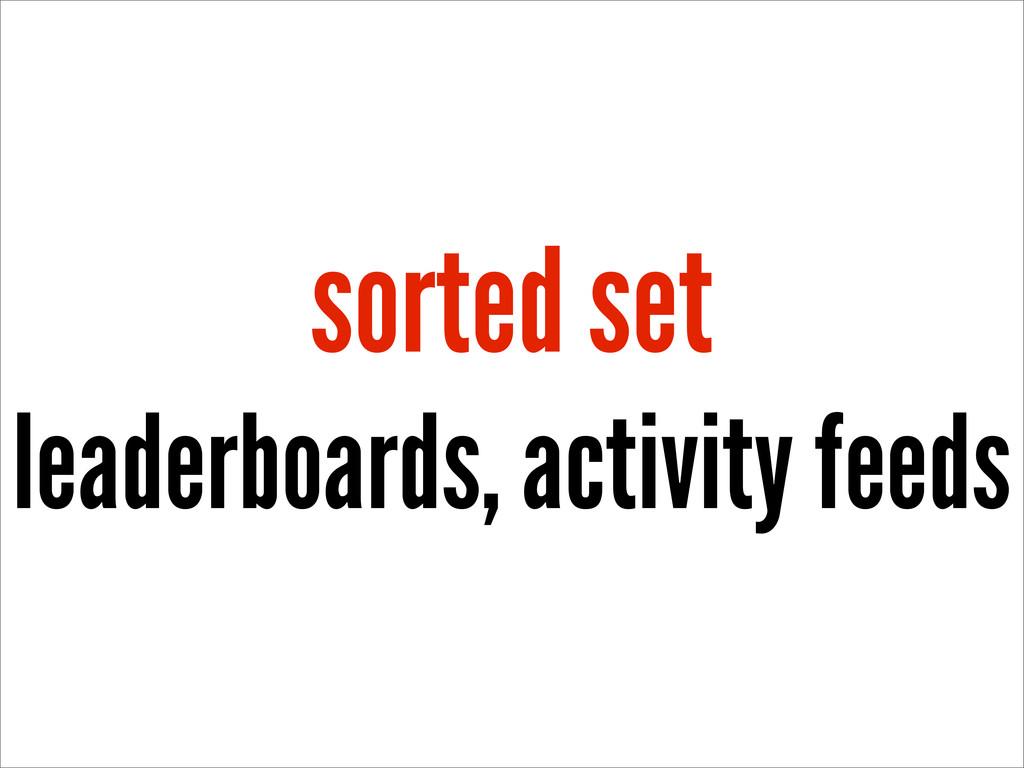 sorted set leaderboards, activity feeds